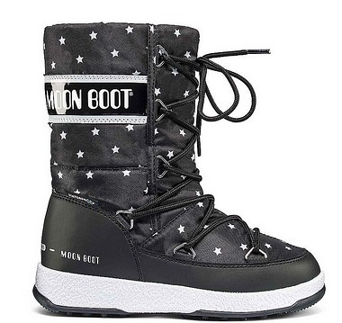 Moon Boot® Moonboot JR Girl Quilted stars nero bianco